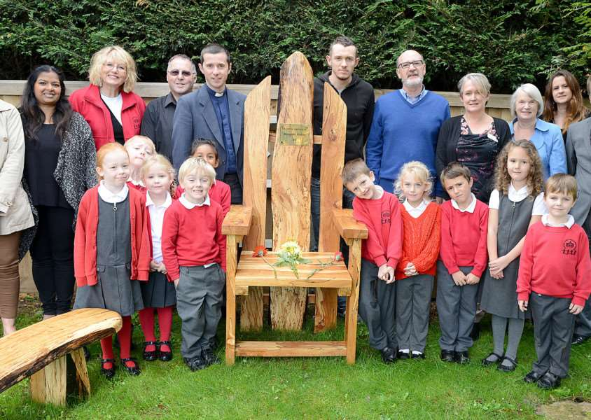 Storyteller chair at Harrowby Infant School, Grantham