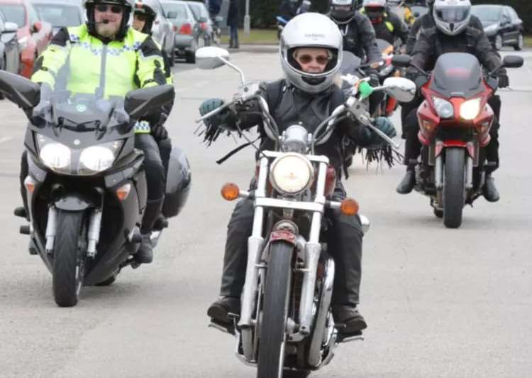 Bikers arrive at The Meres leisure centre in Grantham on the Easter egg run in 2016.