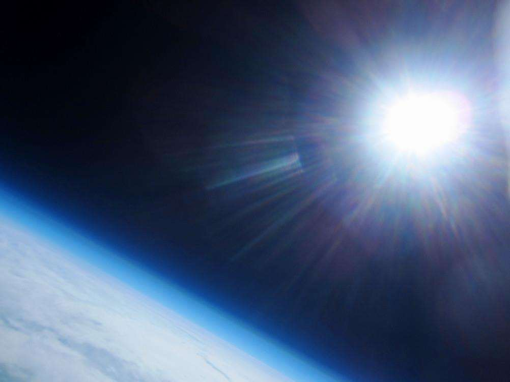 This picture from the weather balloon launched by Priory Academy captures the sun from space.