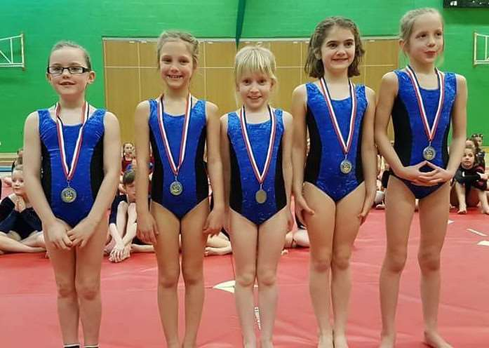 Under-9 girls runners-up Allington and Sedgebrook.