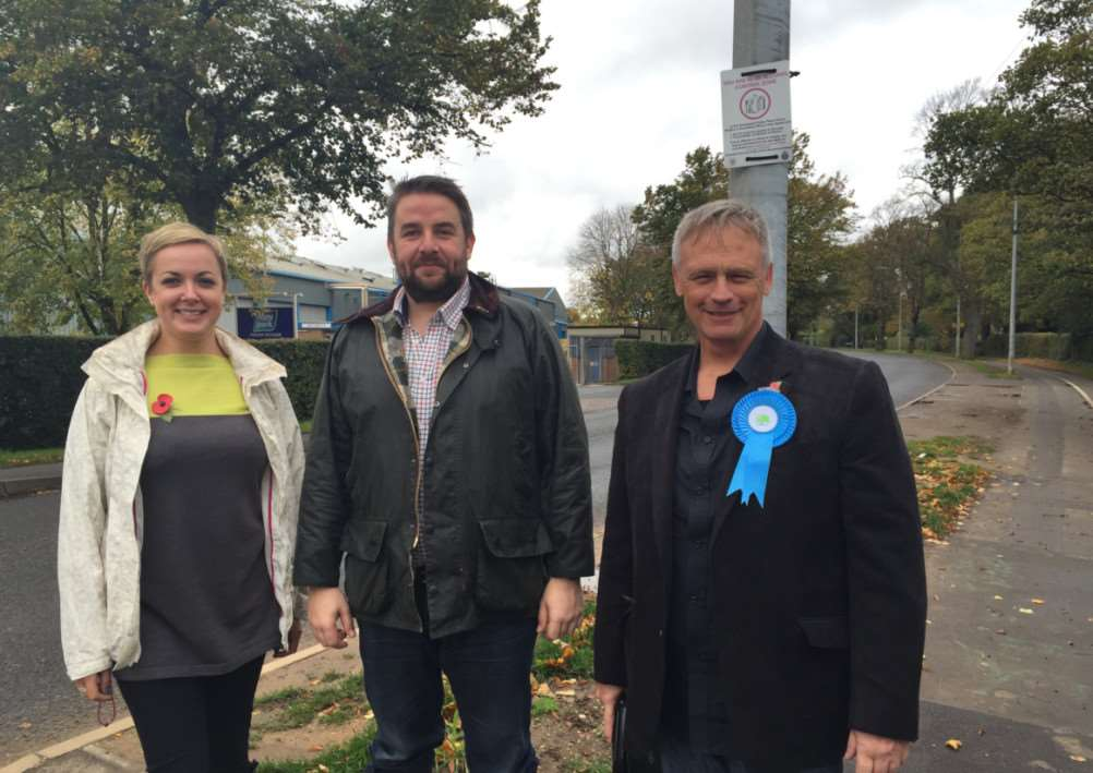 District council candidates Helen Goral and Dean Ward, right, with Coun Richard Davies, centre.