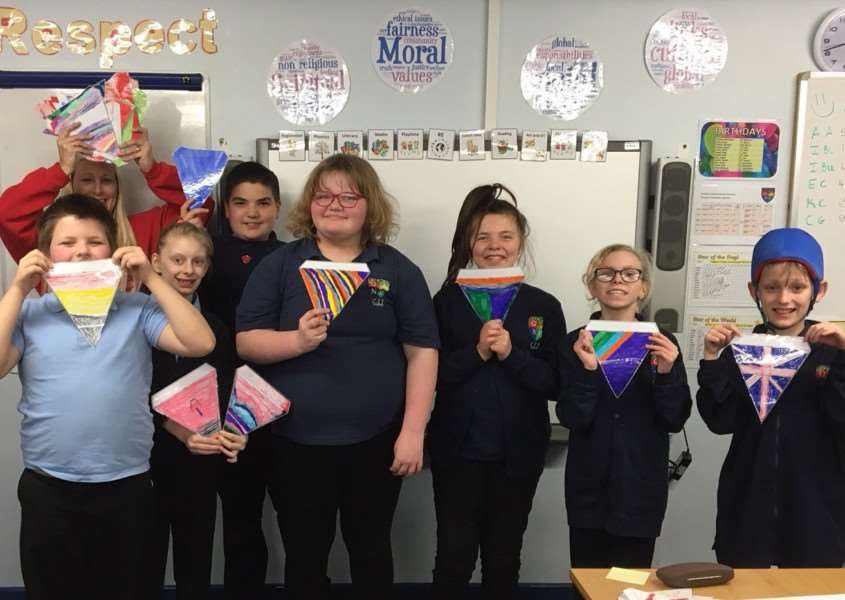 Children from Ambergate Sports College created colourful bunting to brighten up the area.
