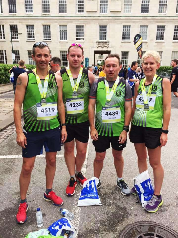 (L to R): Stefan Latter; Sam Dodwell; Paul Kelly; and Caroline Davis, having completed the ASDA Foundation 10K on Sunday 16th June 2019. (12958308)
