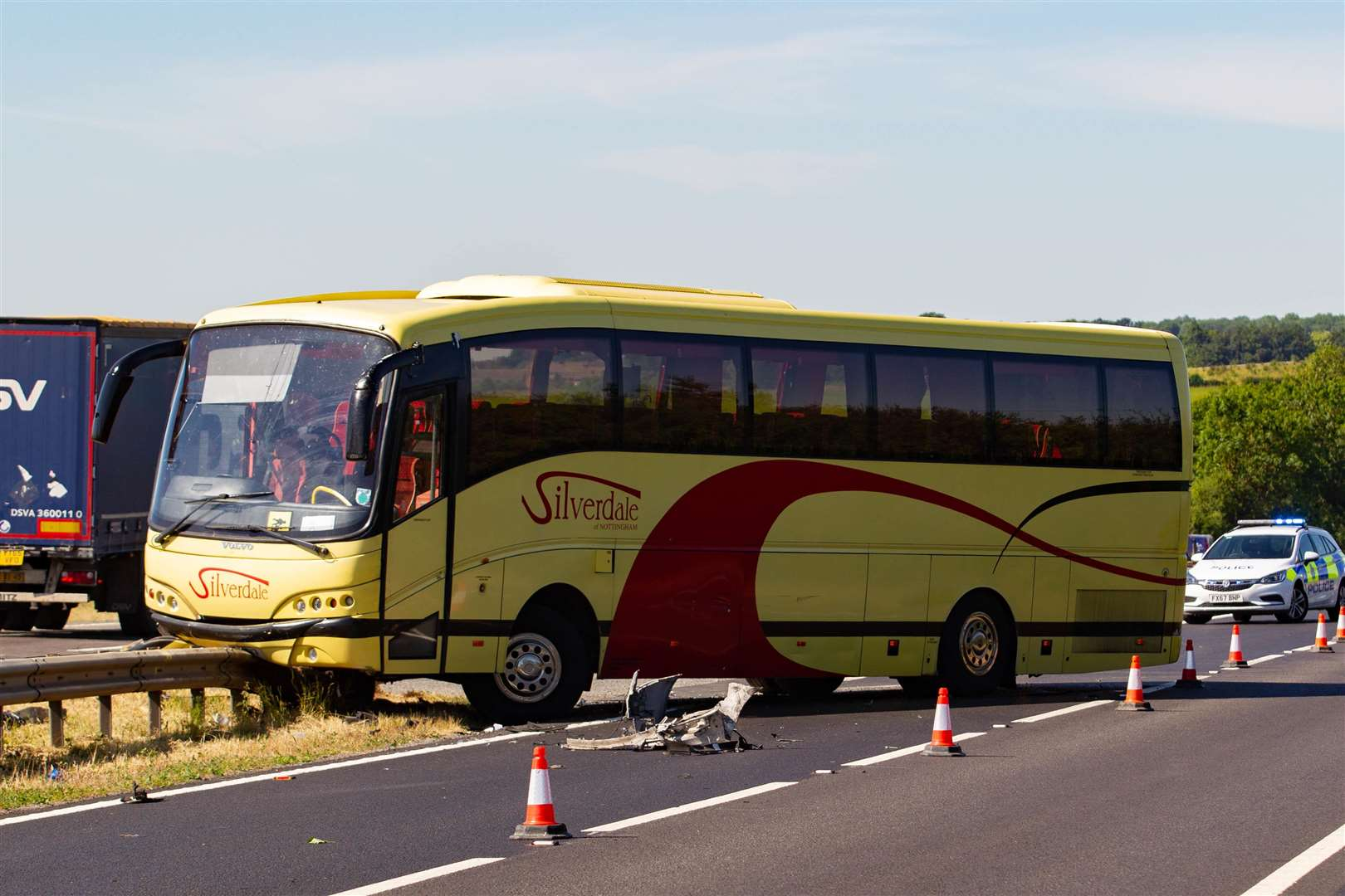 Bus full of children collides with 4X4 on A1 Lincs,A1 Great North Road, ColsterworthMonday 02 July 2018. Picture by Terry Harris. (2830363)
