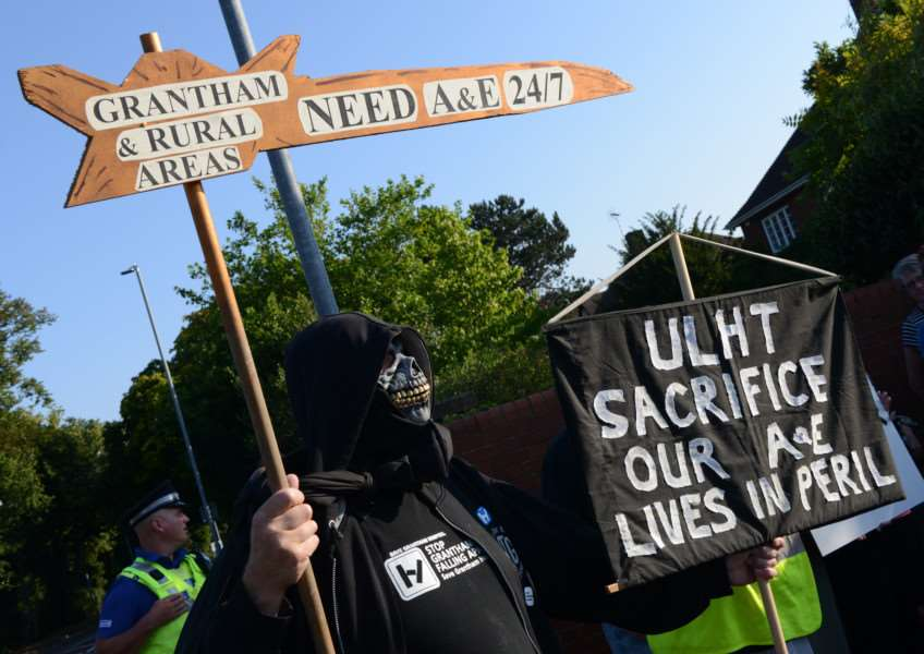 Last Wednesday's protest outside Grantham Hospital saw Coun Ian Selby dressed as the Grim Reaper to make his point clear.
