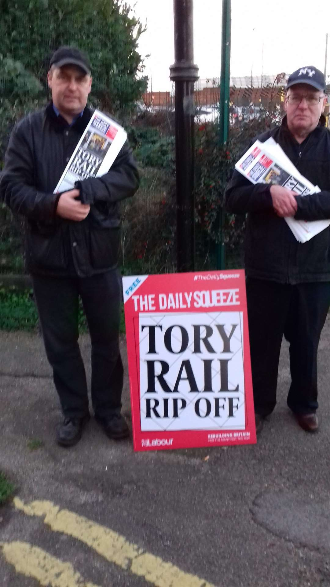 John Morgan and Stephen Diggines protest outside Grantham Station. (6329923)