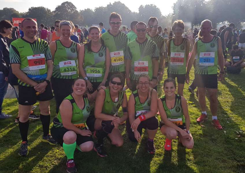 Grantham Running Club members taking part in the Robin Hood Half and Full Marathon in Nottingham.'Photo: Stuart Cresswell