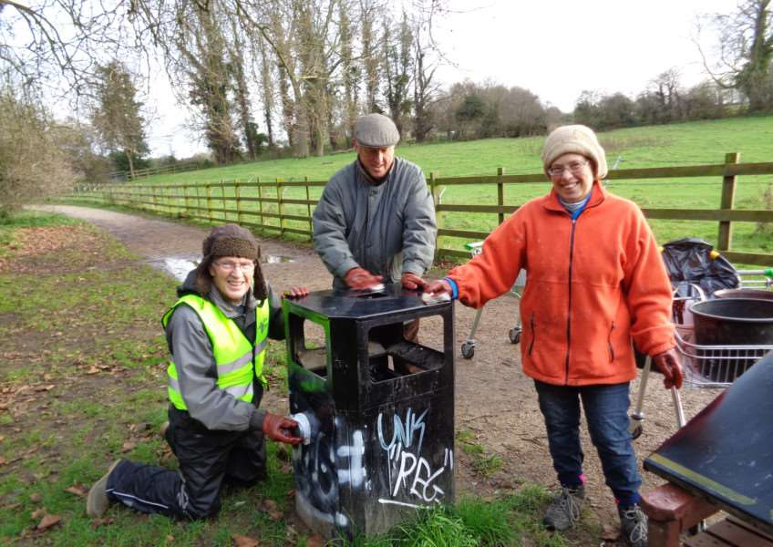 Grantham Rivercare's volunteers were busy removing graffiti over the weekend, including from left, Roy Porter, Councillor Nick Craft and Elizabeth Bowskill.