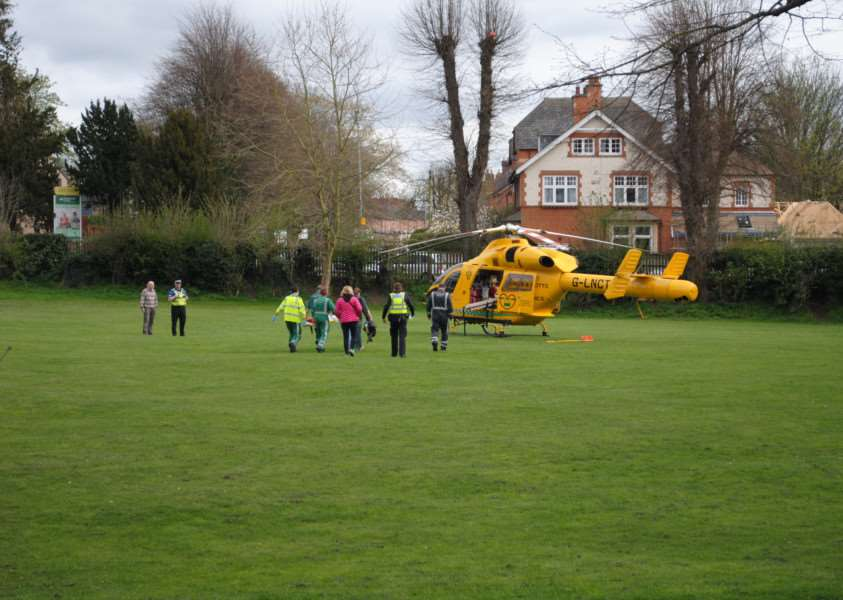 The young casualty was flown to Queen's Medical Centre in Nottingham by air ambulance.