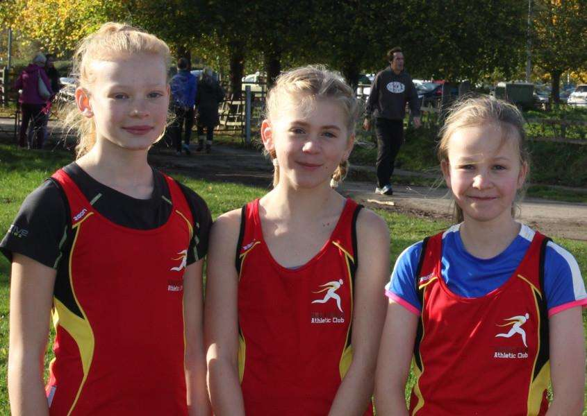 Grantham AC U13 girls, from left - Mazel Brown, Megan Tremain and Ffion Trundell.