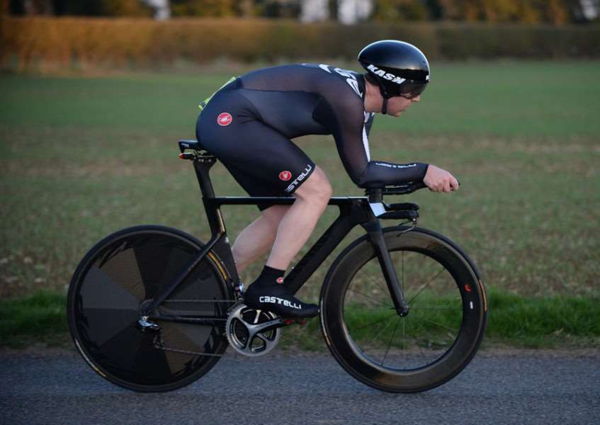 Gary Symons in his aero tuck time trialling position. Photo: Alan East