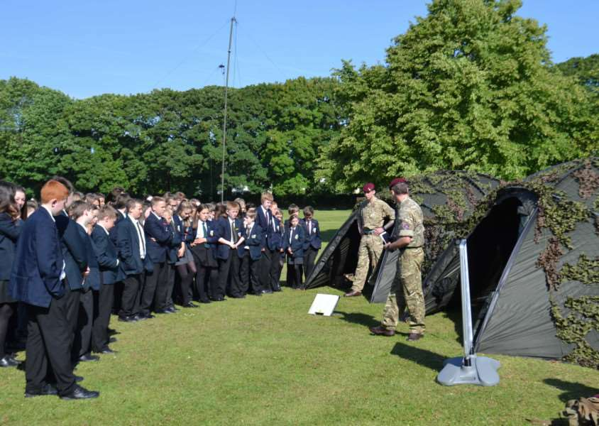 The academy students hear from present day paratroopers. EMN-160709-165113001