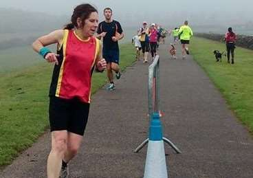 Janice Anderson in action at Rutland Water parkrun.