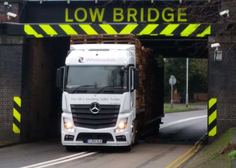 Lorry became stuck under the bridge in Barrowby Road. Photo sent in by Mark Hipkiss