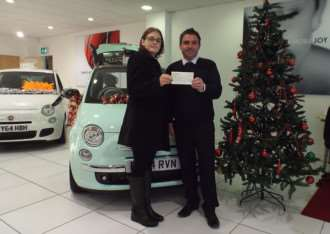 Wendy Tremain with Pasky Ciarla, Fiat Sales Executive at Stoneacre Grantham.