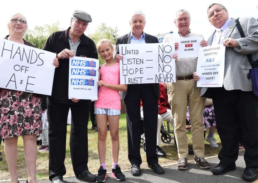 Protest rally outside Grantham Hospital, over reduction in A&E cover in Grantham.