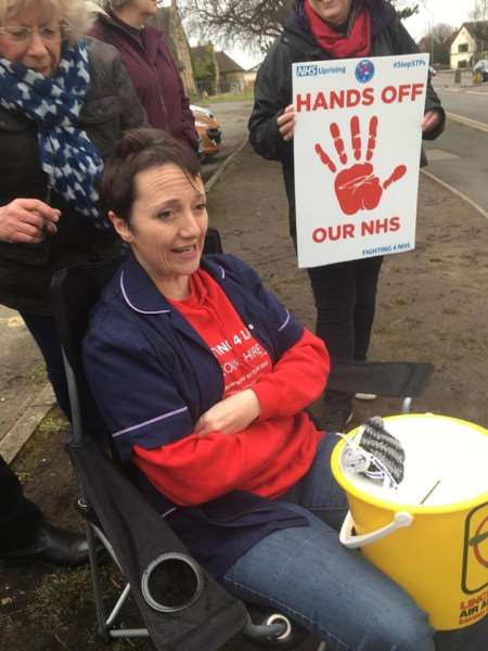 Sarah Stock before having her head shaved outside Grantham Hospital in aid of Lincs & Notts Air Ambulance.