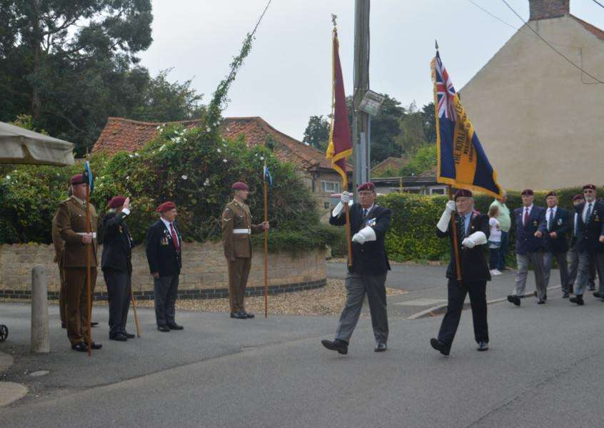 Veterans march through Caythorpe as part of the Arnhem Commemorations.