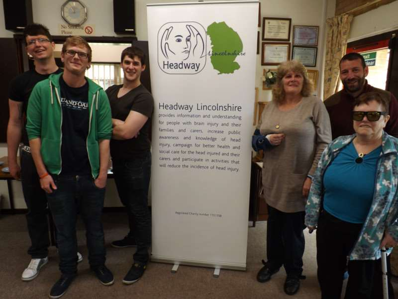 Jamie Bates and visitors to the first meeting of the Headway support group.