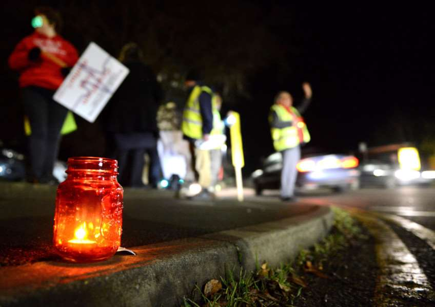 A&E vigil outside Grantham Hospital.