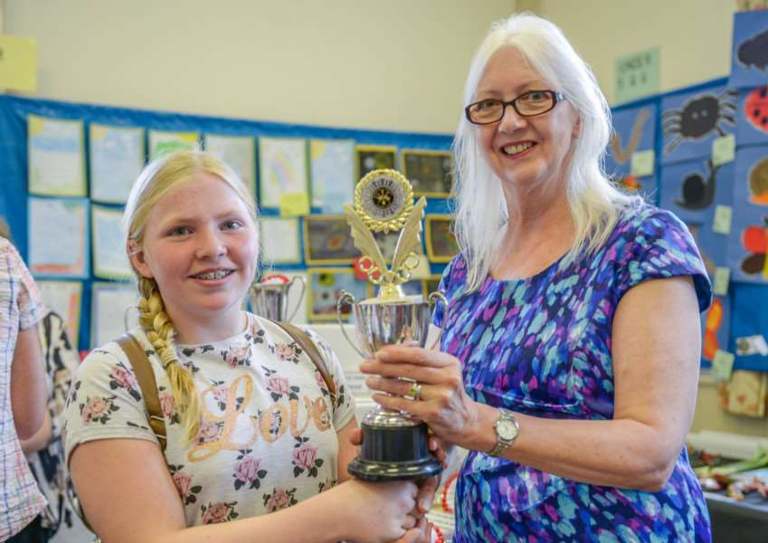 Barkston produce show. Emma Farmer is pictured with Coun Linda Wootten.