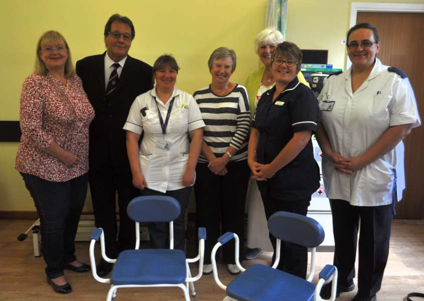 The presentation of the perching stools to Ward 6 at Grantham Hospital by Breathe Easy Grantham Support Group from funds raised by William Peter's Masonic Lodge.