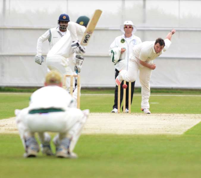 Dan Freeman on the bowling attack for Grantham against Woodhall Spa. Photo: Toby Roberts