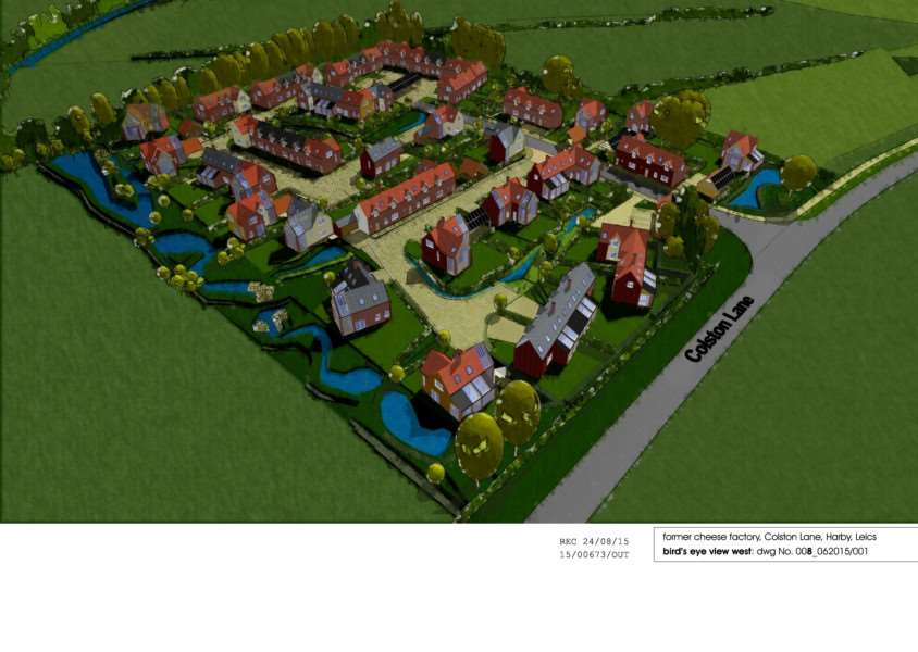 A 3D layout plan of the proposed residential development at the former Millway Foods site in Harby EMN-151010-123054001