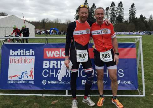 Belvoir Tri Club's Steve Squires and Kevin Gench at Clumber Park.