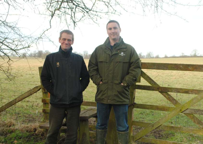 Belton House ranger Chris Shaw (left) with Londonthorpe site manager Ian Froggatt at the stile that currently connects Belton House and Londonthorpe Woods.