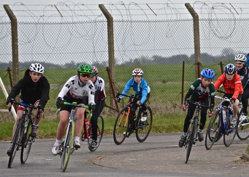 Young riders enjoy the traffic-free tarmat at RAF Barkston Heath. Photo: Alan East