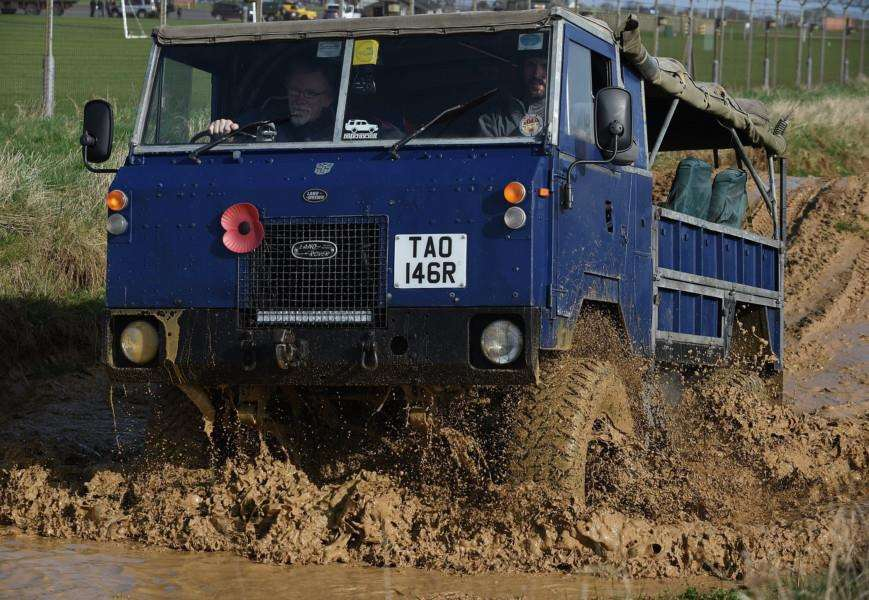 A vehicle takes the plunge at the Land Rover event at Grantham barracks.