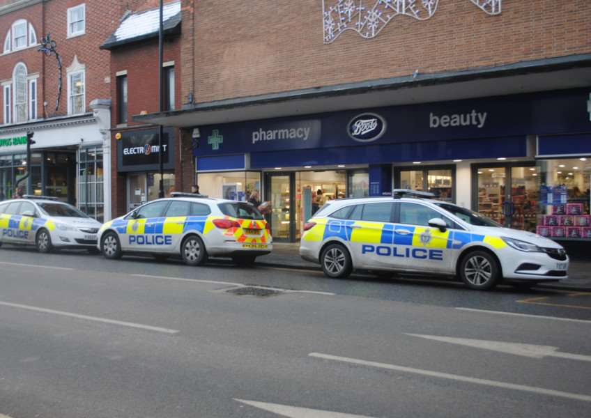 Police cars outside Boots store this afternoon.