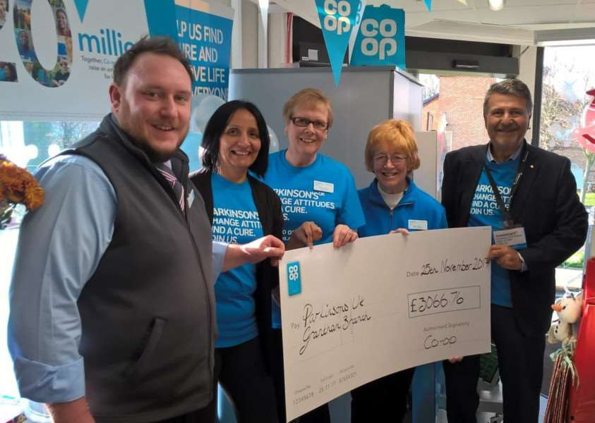 Co-op store presentation to Grantham branch of Parkinson's UK. Pictured from left are the manager of the Princess Drive store Max Neall, Ramilla Patel of Parkinson's UK, Shirley Ward MBE, Mary Treacy, and Mos Kalbassi, chairman of the Grantham branch.