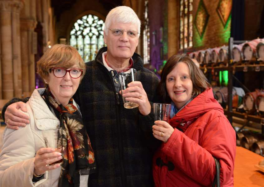 Land of Hops and Glory at St Wulfram's Church, Grantham. Pictured are: Barbara Lawrey and John and Deirdre McClarty