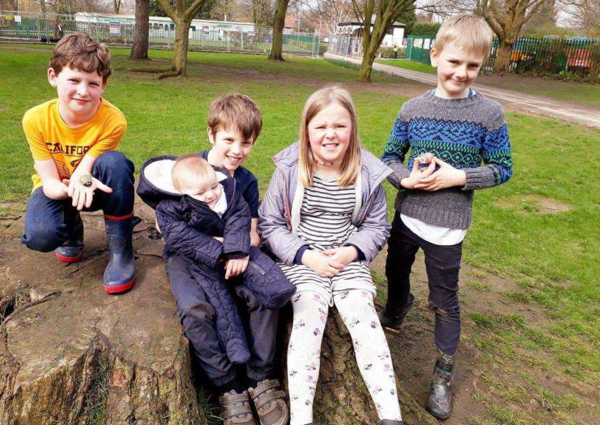 Group activity: From left, Sam Lawrence, Benson and Alfie Butcher and Grace and Dexter Sparshott.