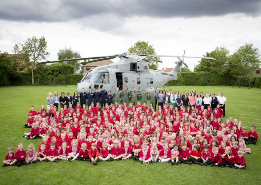 Royal Navy Merlin at Long Bennington School. Photo: Cpl Paul Robertshaw