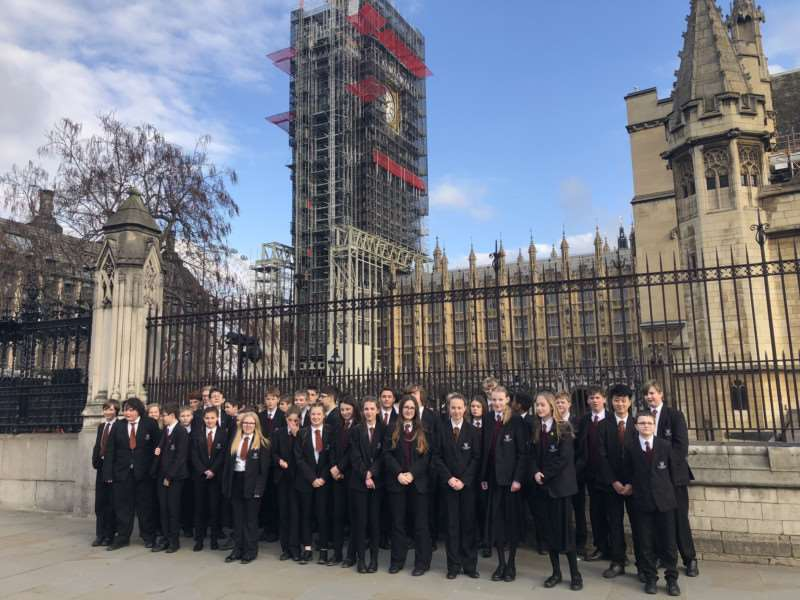 Charles Read Academy students outside the Houses of Parliament.