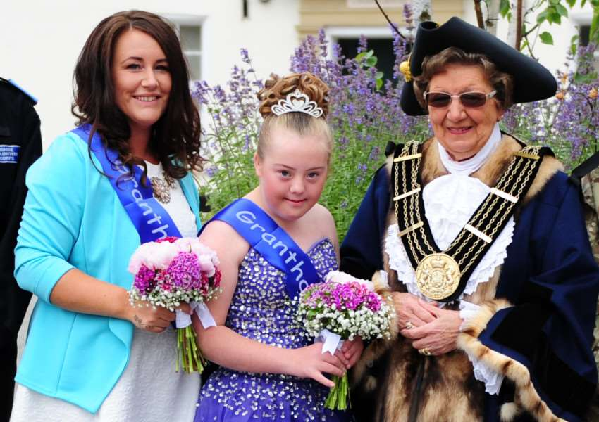 Kerry and Shelby Walker with Mayor of Grantham Jacky Smith at last year's parade.