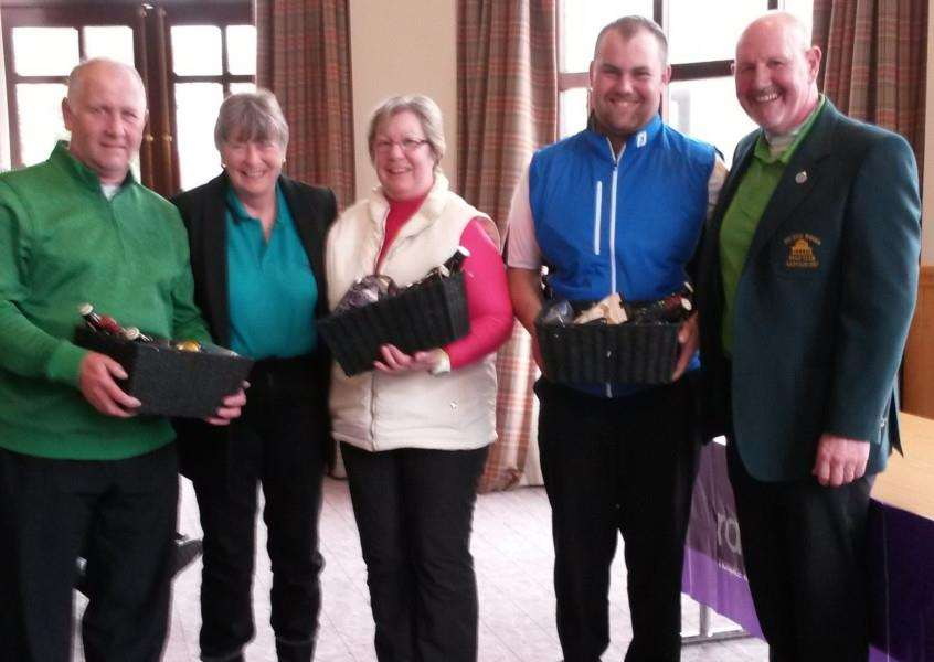 Belton Woods mixed section St Patrick's Day winners Pat, Allan and Matt Haynes.