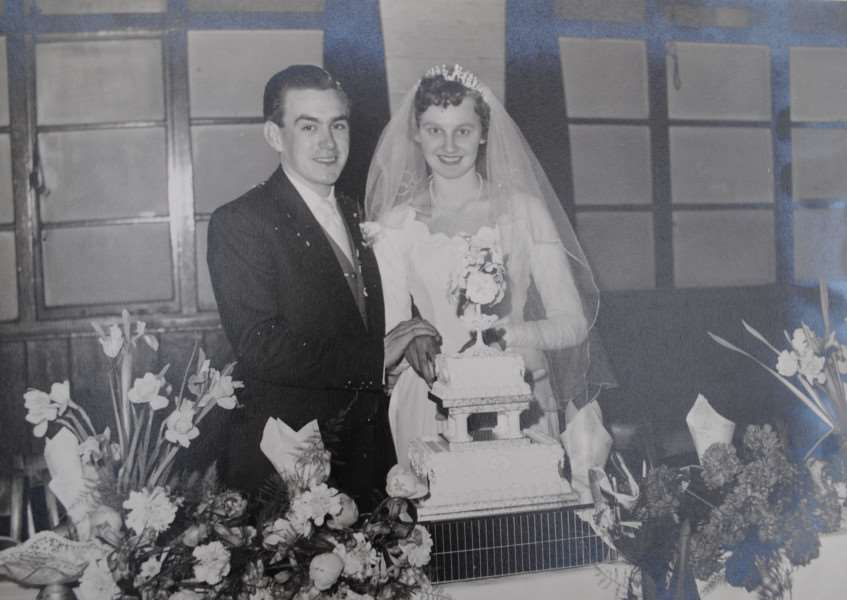 Doug and Gloria Keasley, of Great Gonerby, on their wedding day 60 years ago.