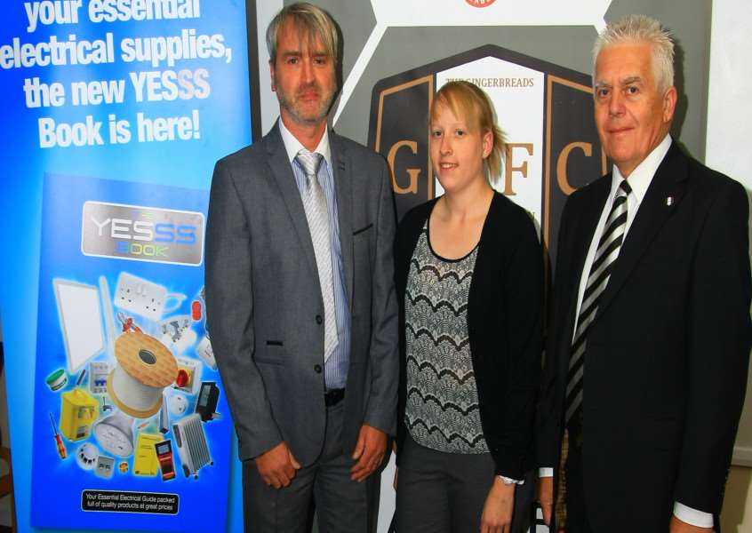 Jason Heppleston of Yesss Electrical and, from the football club, Sophie Cope and Peter Railton