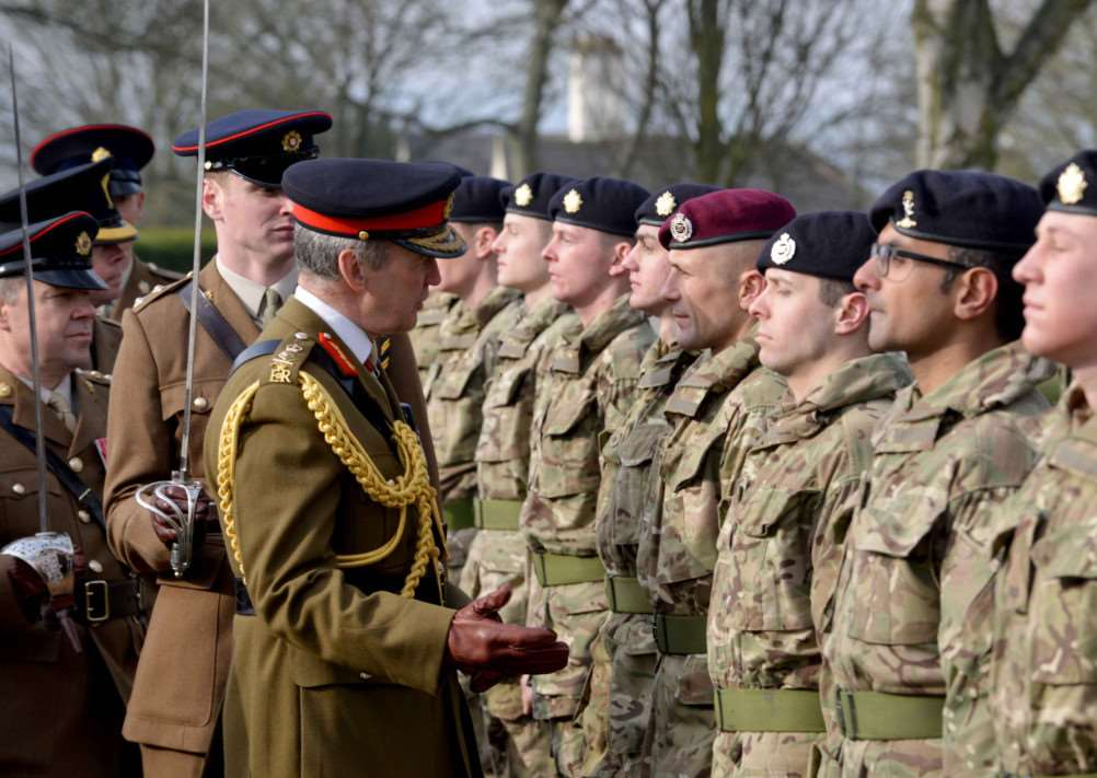 Chief of the Defence Staff General Sir Nicholas Houghton inspects the next generation of Army Reserves at their passing out parade in Grantham. UNCLASSIFIED