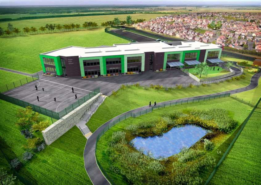 A new artist's impression of how the Poplar Farm School on Grantham will look when it is completed.