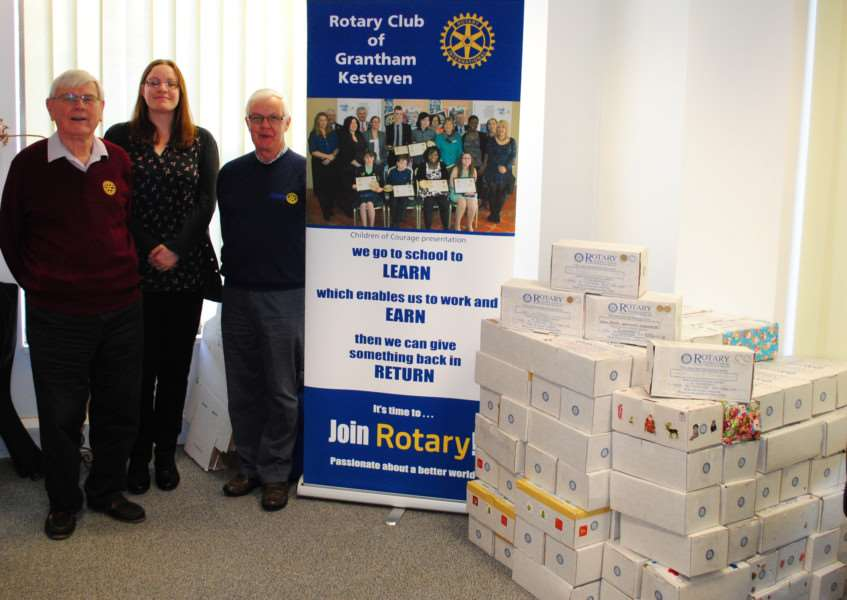With the collection of shoeboxes at the Journal are from left, Tony Griffin, of the Rotary Club of Grantham Kesteven, Grantham Journal Deputy Editor Marie Bond and Rotary President Chris Thurlow.