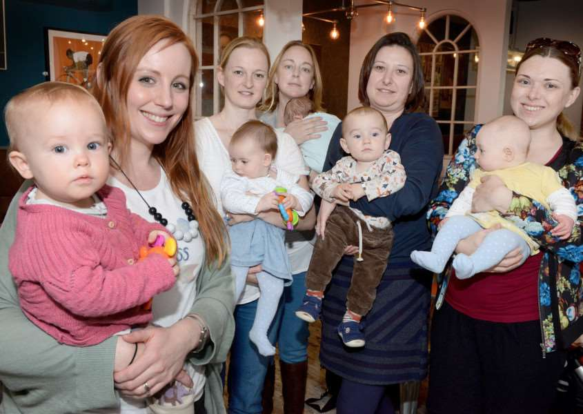 Mums and their babies at the breastfeeding cafe in Grantham.