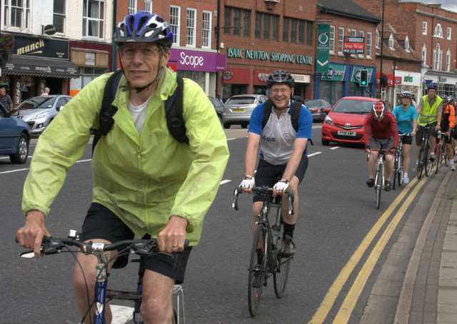 The Queen Eleanor Cycle Ride passes through Grantham in 2015.