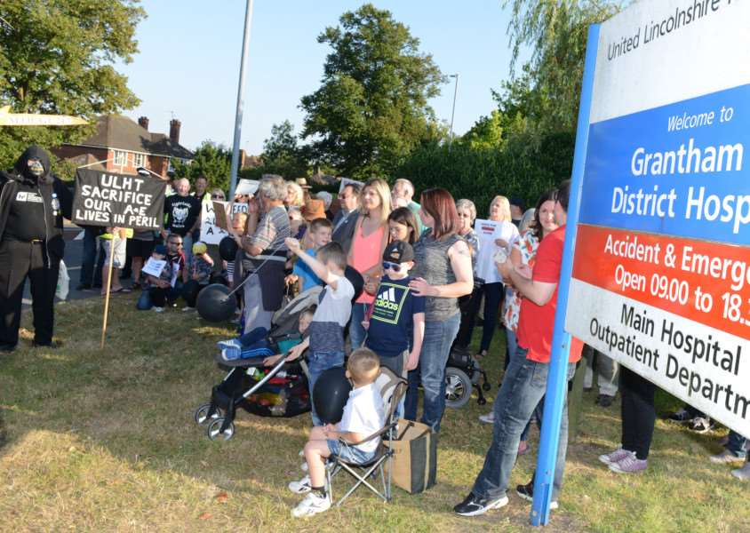 A recent protest outside Grantham Hospital