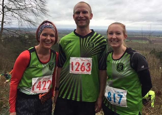 Pictured from left are Grantham Running Club's SJ Willis, Gav Meadows and Penny Hodges.