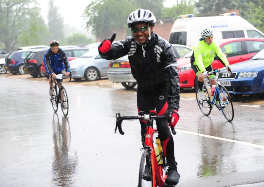 Smiles despite the rain in the Grantham Foodbank Cycle Fest.